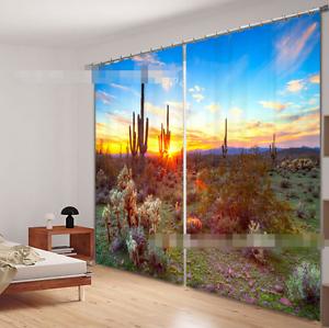 Puesta de sol 3D 170 Cortinas de impresión de cortina de foto Blockout Tela Cortinas Ventana Reino Unido