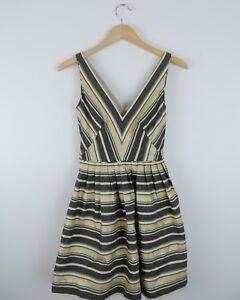Women-039-s-New-J-Crew-Black-amp-Gold-Metallic-Striped-Dress-Size-00-NWT