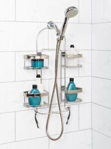 Adjustable Shelf Shower Caddy Washcloth Holder Bar Tall Bottle