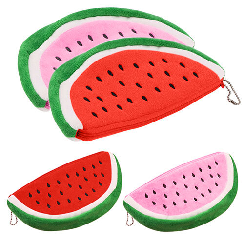 ALS_ Cute Watermelon Plush Stationery Pencil case Pen Purse Bag Lovely Cosmetic