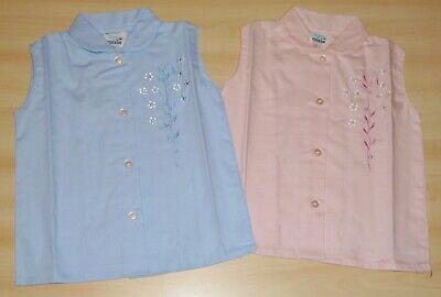 Bellissimo 2 Pack Di Vintage 1970s Girls Rosa & Blu Floreale Ricamato Camicette Da 4-5 A 6-7-mostra Il Titolo Originale