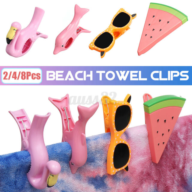 HOT Plastic Cute Sun Lounger Beach Towel Wind Clips Sunbed Pegs Pool Towel Clip