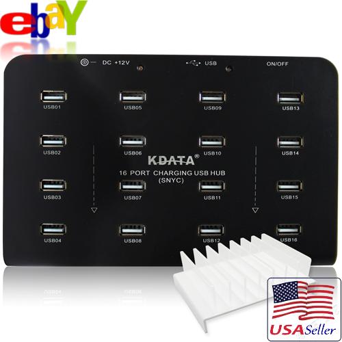 KDATA 16 Port Industrial USB2.0 Hub 12V Dual Powered f/ USB Bitcoin Mining Farm 1