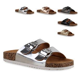 Details zu Damen Sandalen Komfort Slipper Hausschuhe Metallic Kork Schuhe 814241 Trendy Neu