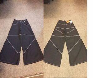 retro New ampio Baggy W36 Jeans skater Denim cyber Black goth pantaloni gamba svasato v0wvr4q