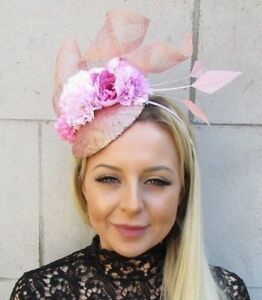 Baby Light Pink Rose Gold Flower Feather Hat Hair Fascinator Races ... 119dc839398