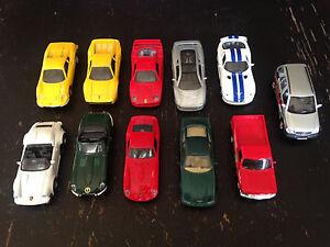 Lot-Miniature-Friction-Car-Ferrari-Jaguar-Dodge-Porsche-Mercedes-Maisto-Shell-1