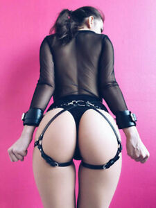 Faux-Panties-Bondage-lingerie-and-Belt-with-handcuffs-fetish-harness-fetish-3028
