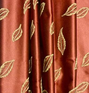 3-87-yds-Embroidery-Look-Jacquard-Woven-Gold-Leaves-Ruby-Satin-Upholstery-Fabric