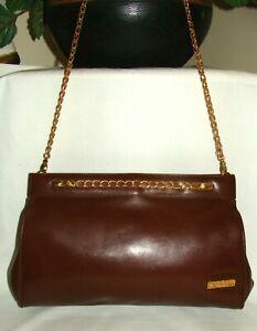 Details about Vintage 1 Of A Kind ALDO NAVARRO Italy Wine Leather Clutch Chain Shoulder Bag!