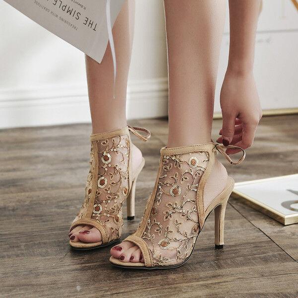 Sandalei stivali estivi tacco stiletto 11 cm beige simil pelle pelle simil pelle ... 3ff228