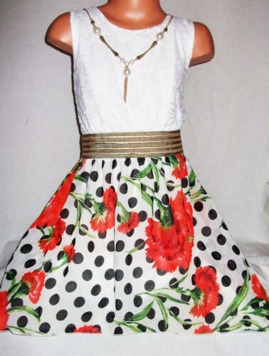 GIRLS WHITE LACE GOLD TRIM RED FLORAL BLACK SPOT PRINT CHIFFON PROM PARTY DRESS