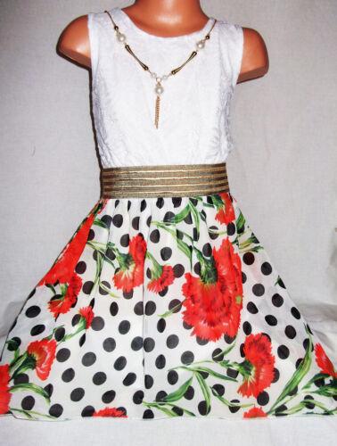 GIRLS WHITE LACE GOLD TRIM RED FLORAL BLACK SPOT PRINT CHIFFON PROM PARTY DRESS