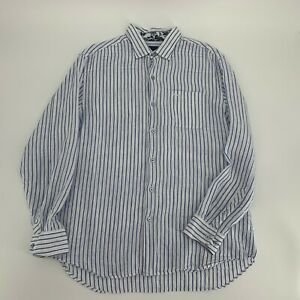 Tommy-Bahama-Men-s-Button-Down-Shirt-Size-L-White-Striped-Linen-Long-Sleeve-M1