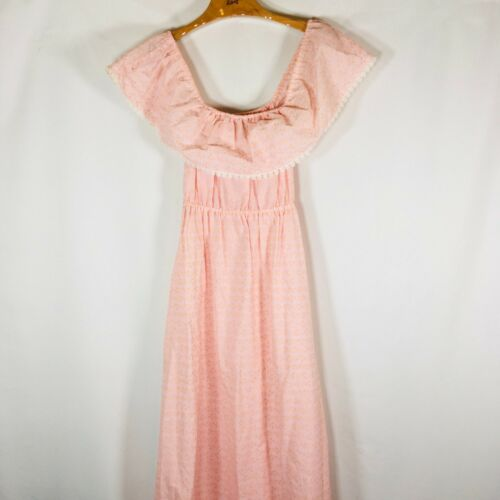 Vtg 70s Prairie Maxi Dress Pink floral off the sho