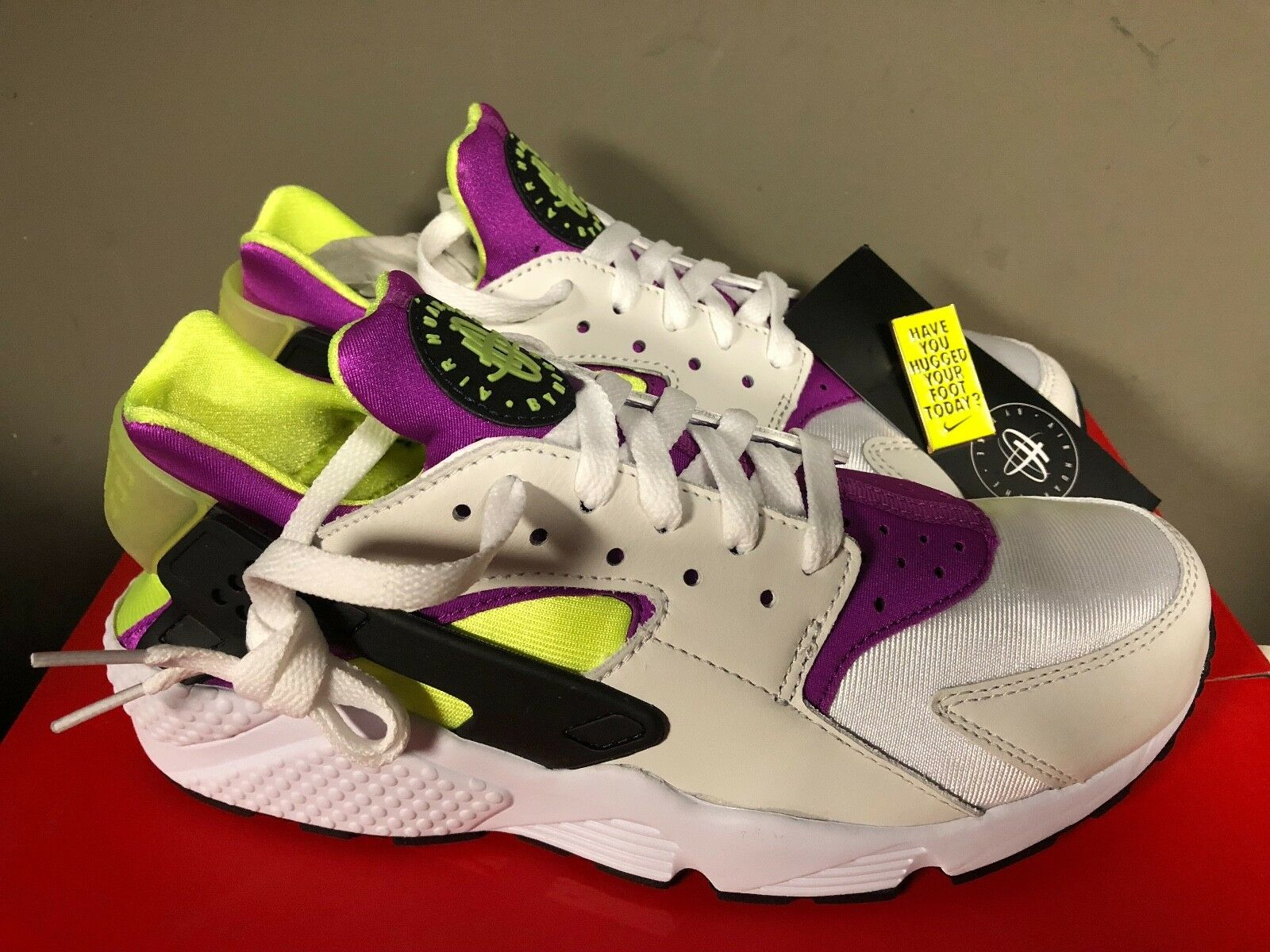 Nike Air Huarache Run '91 QS WHITE/BLACK-NEON YELLOW-MAGENTA AH8049-101 NEW 2018