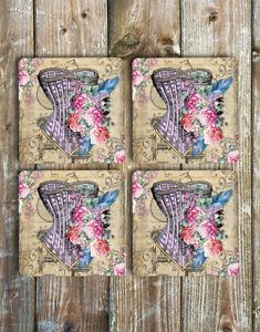 Pretty Floral Corset Drink Coasters Set of 4 Non Slip Neoprene
