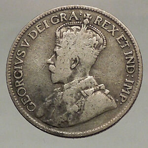 1918-CANADA-UK-King-George-V-Authentic-Original-SILVER-25-CENTS-Coin-i57123