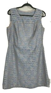 PEPPERBERRY-UK16-Really-Curvy-Dress-Fit-amp-Flare-Blue-Beige-Floral-Occasion