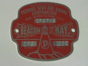 Federal Sign and Signal Model 173 Beacon Ray Replacement Badge