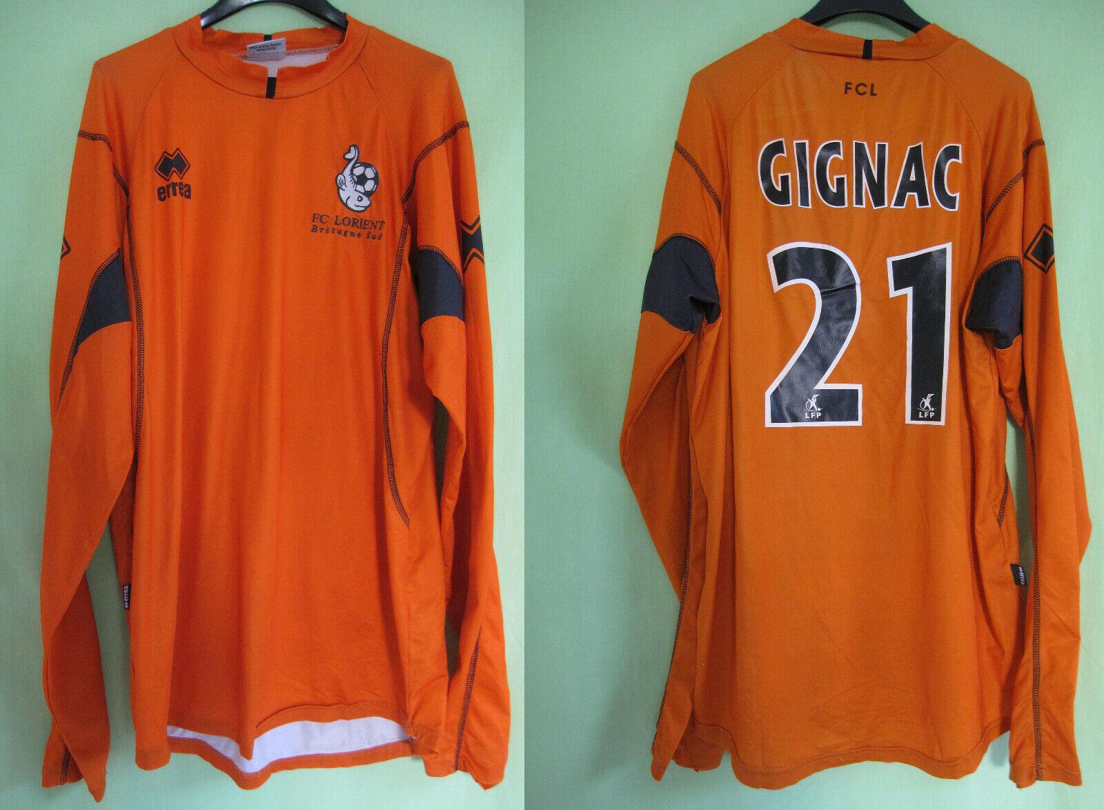 Maillot FC Lorient Gignac  21 Errea arancia uomoche lungoue Vintage Jersey  L