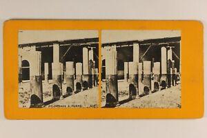 Italia-Pompei-Archeologia-Ruines-Colonnes-c1900-Foto-Stereo-Vintage-Analogica