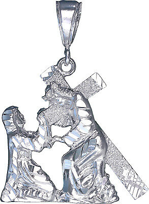 """Large 2.5/"""" Heavy Sterling Silver Jesus Carrying Cross Pendant Necklace 24/"""" Chain"""