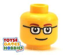 *NEW* LEGO Minifigure Minifig Head Man Boy Nerd Glasses Smile City Worker #314