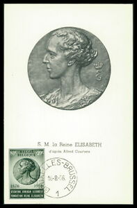 BELGIEN MK 1956 ELISABETH KÖNIGIN QUEEN REINE CARTE MAXIMUM CARD MC CM an35