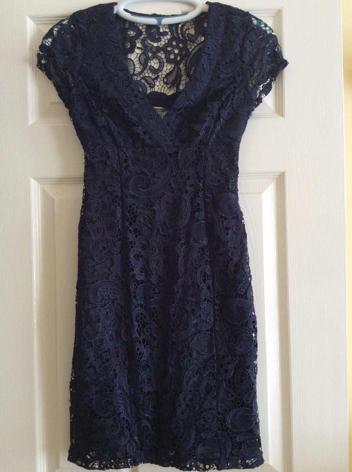 Lipsy Navy Waxed Lace Pencil Dress. UK8. BNWT. RRP .