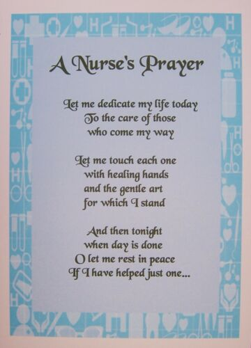 A4 POEM LAMINATED GIFT A PRAYER FOR A NURSE Can be personalised