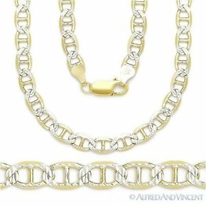 Sterling-Silver-14k-Yellow-Gold-Marina-Mariner-Link-5-3mm-Italian-Chain-Necklace
