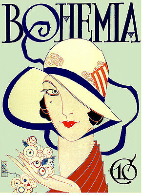 """101.Art Nouveau poster/""""Fashion Girl w//Hat and Shells/""""Home room Interior Design"""