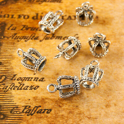 5 Antique Silver Plated Crown Charms Pendant Kitsch 096s