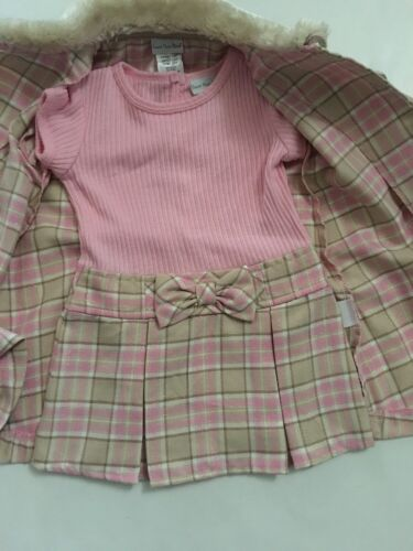 Sweet Heart Rose Girls Plaid Coat /& Dress Set Size 18 24 Months Pink Ivory Fur