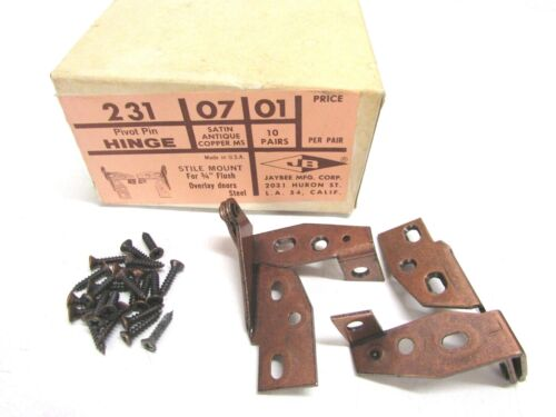 SATIN ANTIQUE COPPER MS #231 07 01 NOS LOT OF 10 JAYBEE PIVOT PIN HINGE