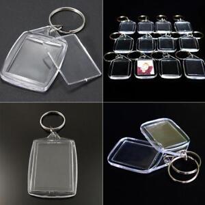 10Stk-Schluesselanhaenger-Keychain-leer-klar-Transparent-Acryl-Bilderrahmen