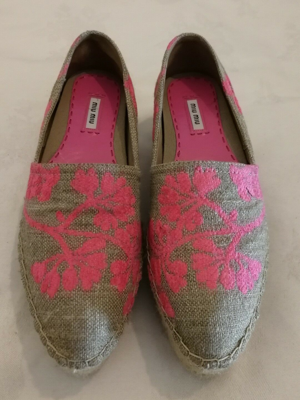 MIU MIU FLORAL CANVAS PLATFORM ESPADRILLES SLIP-ON Schuhe Pink uk 7 eu 40