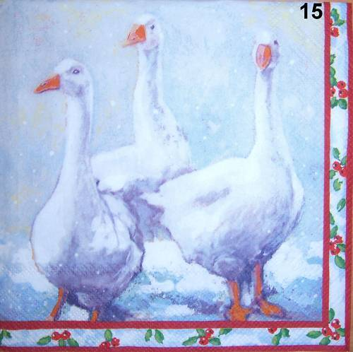 Gans Gänse im Schnee Weihnachten 4 Servietten