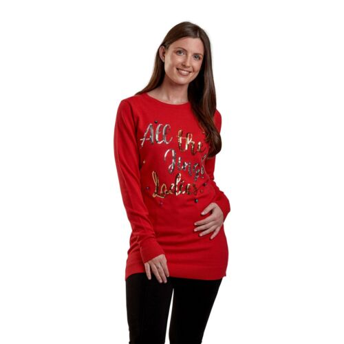 Womens Xmas Christmas /'All The Jingle Ladies/' Sequin Bells Festive Jumper Tunic