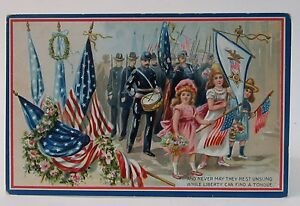 Tuck's 1909 Civil War GAR Girls in Parade DECORATION DAY embossed postcard