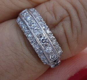 Antique Diamond Platinum Vintage Ring Right Hand Or Wedding Band 6 6