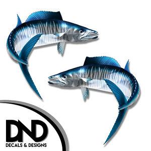 "Fish Decal Fishing Tackle Box Bumper Sticker /""5in SET/"" F-1050 D/& Wahoo"