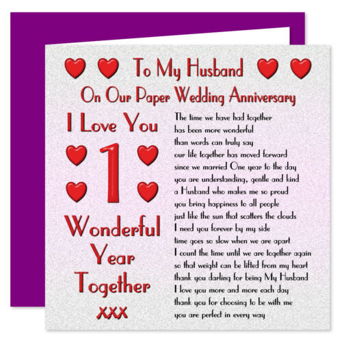 My Husband 1st I Love You Verse On Our Wedding Anniversary Card 70th Years