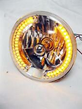 "Street Rod 7"" H4 Prism Headlights w Amber LED Turn Signals Halo Style No Tri Bar"