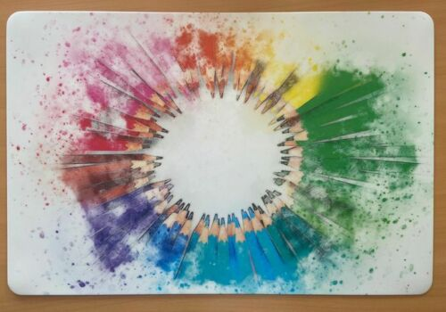 Schreibtischunterlage bunte Bleistifte im Kreis heller Grund 40x60cm abwischbar