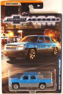 CHEVROLET 100 YEARS /'02 CHEVY AVALANCHE☆BLUE//GRAY SUV TRUCK☆2018 MATCHBOX☆