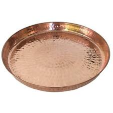 Copper Hammered Round Serving Tray 12? Hotel Home Decor Bar Tray Elegant New