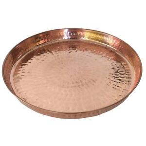 Copper-Hammered-Round-Serving-Tray-12-Hotel-Home-Decor-Bar-Tray-Elegant-New
