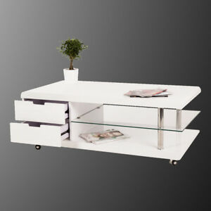couchtisch simon beistelltisch wohnzimmertisch wei hochglanz glas auf rollen ebay. Black Bedroom Furniture Sets. Home Design Ideas